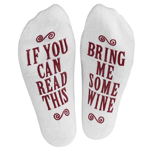 If You Can Read This Bring Me Some (Wine, Chocolate, Coffee) - Damen Socken für Geschenke - Wein, Schokolade, Kaffee (Wein)