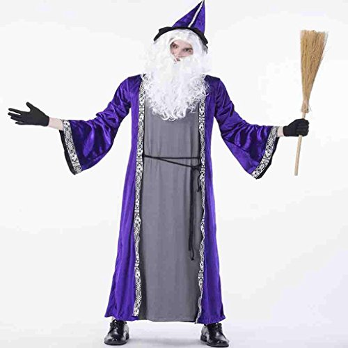 HAOBAO Halloween Alte Hexe Kleidung Wald Zauberer Weiß Bart Bar Nachtclub Party Rolle Mann, (Männer Böse Zauberer Kostüm)