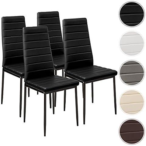 TecTake Lot de 4 chaise de salle à manger 41x45x98,5cm noir