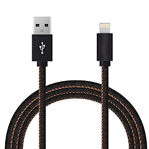 Skitic 1 Meter / 3.3 ft USB Lightning Ladekabel Cowboys Geflochten Wire Tangle-Free Datenkabel Charging Cable for Apple iPhone 6/ 6S/ 6 Plus/ 6S Plus/ SE/ 5/ 5S/ SE, iPad 4, iPad Mini, iPad Air / Air 2, iPod Nano 7, iPod 5G, iPod Touch 5 - Schwarz
