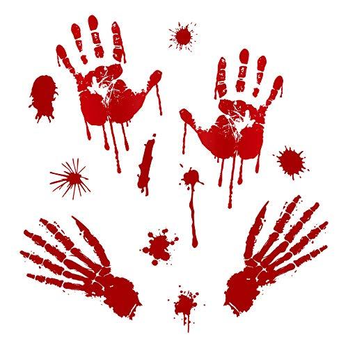 eckliche Halloween-Dekorationen, Blutfingerabdrücke, Wandaufkleber, Korridorglasfenster, Ökologische Fußabdruckaufkleber ()