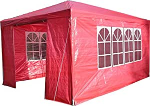 Airwave 3 x 4m Party Tent Gazebo Marquee with Unique WindBar and Side Panels 120g Waterproof Canopy, Red, 120g