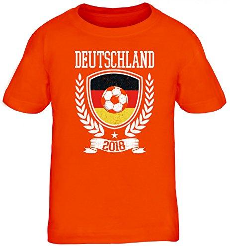Germany Fußball WM Fanfest Gruppen Fan Kinder T-Shirt Rundhals Mädchen Jungen Pokal Deutschland 2018, Größe: 110/116,Orange