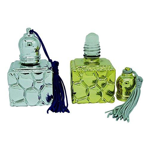 2 Argent Pcs verre Roll On bouteille vide rechargeables bouteille d'huile essentielle de gros Aromatherpay Roller Ball Parfums Attar bouteilles de 6 ml