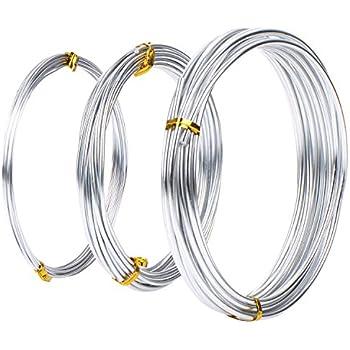 Verschiedene Aluminiumdraht, 1 mm, 2 mm und 3 mm Durchmesser, Jede 5 Meter, Silber, 3 Stück