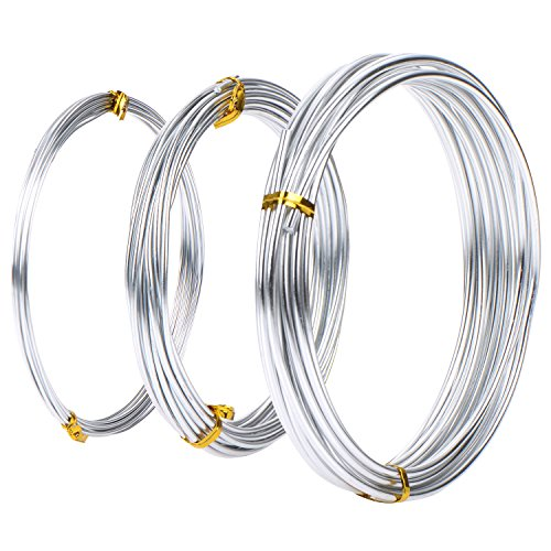 Assorted Sized Aluminium Wire, 1 mm, 2 mm and 3 mm in Diameter, 5 Meters Each, Silver Color, 3 Pieces