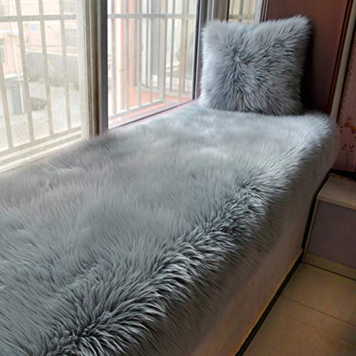 DULPLAY Verdickt Erker Matten Nicht-Slip Weiches Künstliche Wolle Balkone-matten Tatami Waschbar Fußboden-matten Balkone-matten-Silbergrau 90x240cm(35x94inch)