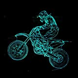 3D extremes LED-Motorrad cooles Geschenk LED-Nachtlicht RGB-Kindertischlampe Geburtstagsgeschenke des neuen Jahres, Note 7 Farben