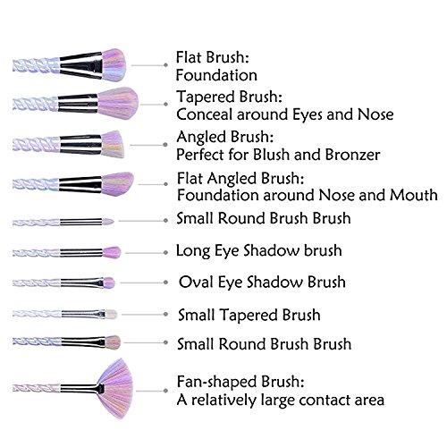 CDC� 10 Pcs Unicorn Handle Makeup Brushes Set Rainbow Hair Foundation Blending Powder Eyeshadow Contour Concealer Cream Blush Brush Kits