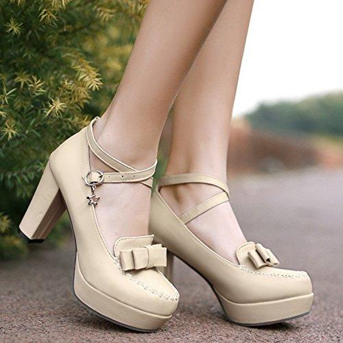 TAOFFEN Femmes Escarpins Soiree Mode Bloc Talons Hauts Plateforme Sangle De Cheville Chaussures De Boucle 437 Beige
