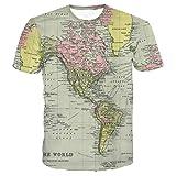 Mens T-Shirt Men Lässige Weltkarte Drucken Mit Knopf Shirt Top Bluse