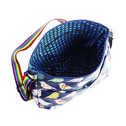HB Style, Borsa bowling donna multicolore Beige Medium Navy blue