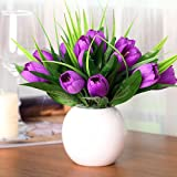 Hctina künstliche Fake Blume Pflanze Tulip Keramik Vasen Lila