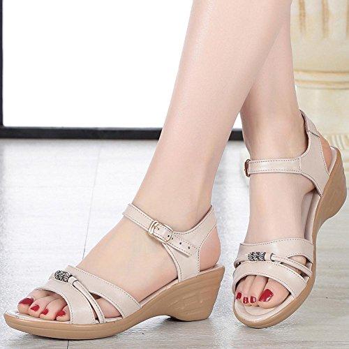 Demen L@YC Frauen Slope Mit Sommer Sandalen Leder Mit LäSsigen GroßEn GrößE Bequemen High Heels White