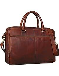 STILORD Bolso Negocio de piel Hombres Mujeres Maletín Portafolios College Bag 15.6'' portátil de cuero auténtico cognac marrón oscuro