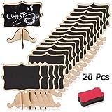 Mini lavagna a gesso con supporto, in legno massiccio, ideale per lasciare messaggi, scrivere menù, decorare matrimoni, feste o per la casa - 20 pezzi
