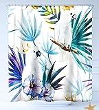 HAIXIA Schimmelresistent Antibakterieller Duschvorhang Tropical Watercolor Weiß Parrot Vögel auf Palm Baum Äste Blätter Exotic Nature Artwork, Mehrfarbig, 69 inch X 75 inch
