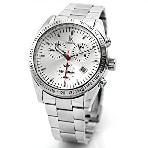 Alienwork IK mechanische Automatik Armbanduhr Multi-funktion Automatikuhr Uhr Herren Uhren Edelstahl weiss silber 98211G-2-03