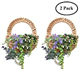 Seegras hängenden Blumenkorb an der Wand befestigten Rattan Pflanze Rebenwand Korb Tür zu Hause Hochzeit Restaurant Büro Dekoration, 2er Set