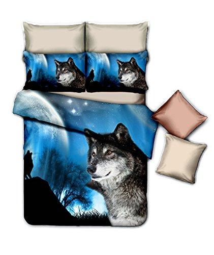Night Wolf 3D Premium Bedding Set Single Size 2 pcs + pillowcase 50×75 cm