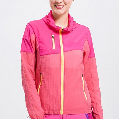 Zhhlaixing Outdoor Skin vêtements Super Light Color Windbreaker Women Genuine Windproof Waterproof Coat Rose Red