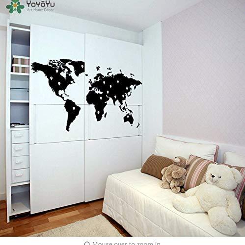Earth-dots (cmdyz Wall Decal Vinyl Sticker World Map WithDots Earth Atlas Removable Mural Poster Home Refrigerator Door DIY Decor73 * 40)