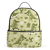 Crocodile Pattern Fun Backpack for Women Girl Student Mini Fashion College Travel School Bag Small Bagpack