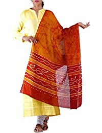Unnati Silks Women Yellow-Red Pure Batik Cotton Dupatta With Tie-dye Batik From The Weavers Of Bihar(UDS1043)