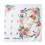 BECU 100cmX100cmCouverture bébé, Couverture Milestone, Aquarelle Floral Photographie Fond Tissu