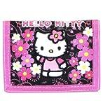 Schwarz und Rosa Blumen Hello Kitty Tri Fold Wallet–Hello Kitty Wallet