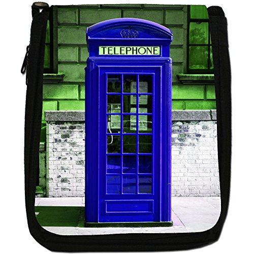 La cabina telefonica londinese, colore: nero, Borsa a spalla in tela da uomo, taglia media Nero (blu)