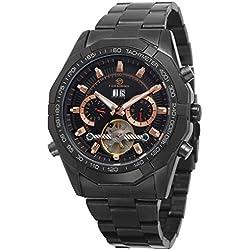 Reloj de pulsera de la marca Forsining automático, para hombre, estilo steampunk, de acero inoxidable, muestra los días naturales, mecanismo Tourbillon, FSG340M4B1