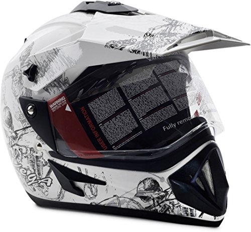 Vega Off Road Sketch ofrsws1 Motorsports Helmet (White and Silver, M)