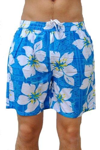 Herren Bermuda Badeshorts und Badehosen Hawaii Shorts Blumen Muster Variation 5