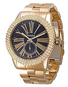Moog Paris Petite Seconde Reloj para Mujer con Esfera Negra, Correa Oro Rosa de Acero Inoxidable y Cristales Swarovski - M45232-003 de Hexagone