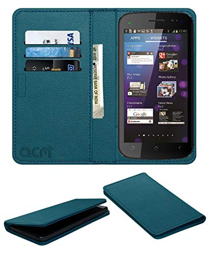 Acm Rich Leather Flip Wallet Front & Back Case for Micromax Superfone Canvas 2 A110 Mobile Flap Magnetic Cover Turquosie