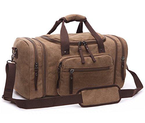 BAOSHA HB-21 Bolsa de Viaje de Lona de Piel Sintético Bolso de Viaje Fin de Semana de Cuero de la PU Bolsos de Deporte Travel Duffle Bolsa de Noche Weekender Café
