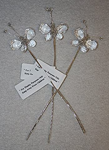 3x clear crystal butterfly picks wired bouquets button holes wedding flowers