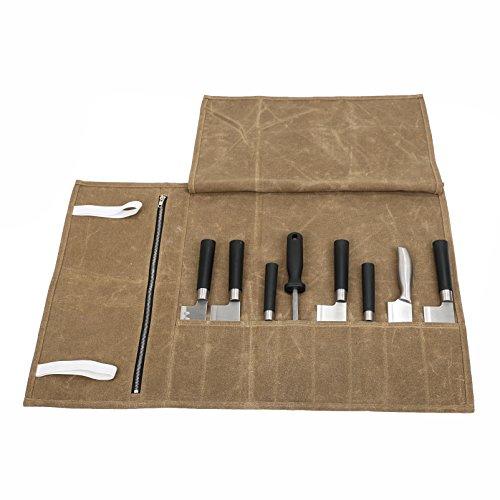 CHENGYI Nützlich, gewachstem Canvas Koch Messer Roll Bag wasserdichte Roll Werkzeugtasche mit 8 Slots Messer Storage Case Träger mit Extra Reißverschlusstasche für kleine Küche Geschirr CYDD03 Messer Storage Roll
