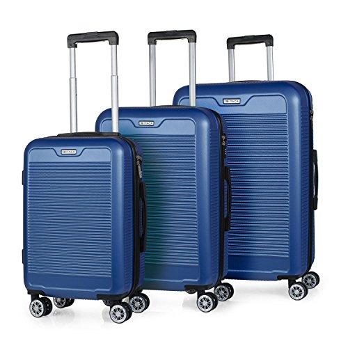 ITACA - T71200 Juego set 3 Maletas trolley 50/60/70 cm ABS. Rígidas, resistentes y ligeras. 2 asas 4 ruedas dobles. Candado integrado. Pequeña low cost., Color Azul
