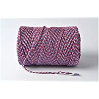 Cordel de panadero 100 m - rojo, azul y diseño de rayas blancas y 100% algodón