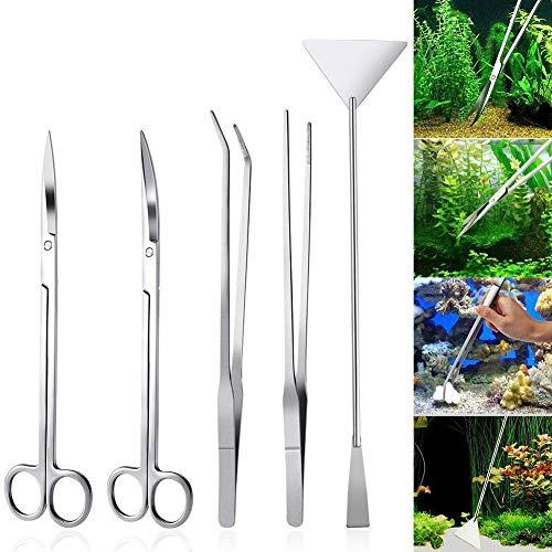 SparY 5 in 1 Edelstahl-Aquarium-Tank-Werkzeug-Set für Fische und Wasserpflanzen