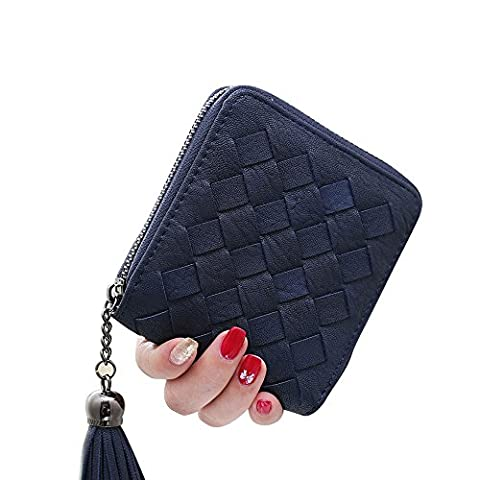 Woolala Hot Sell - Womens Elegant Handmade Woven Wallet Compact Pocket Wallet Cards Holder with Tassel Pendant, Navy