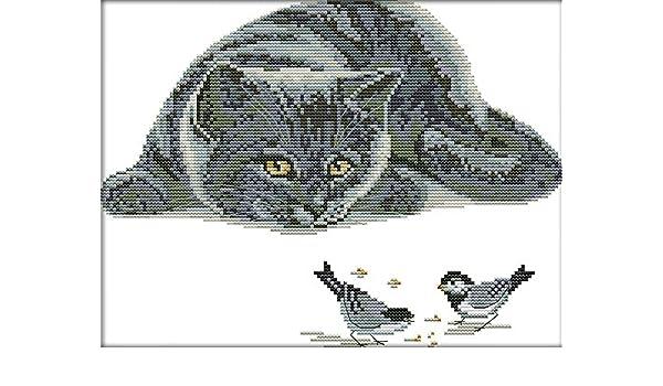 kreuzstich stickpackung stickbild stickvorlage sticken stickset tier katze vogel amazon de kuche haushalt