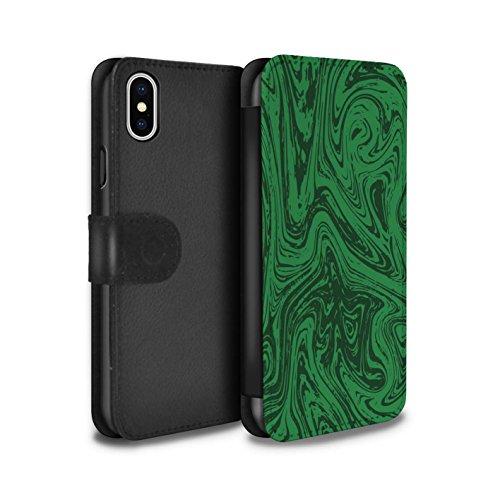 Stuff4 Coque/Etui/Housse Cuir PU Case/Cover pour Apple iPhone X/10 / Pack 6pcs Design / Effet Métal Liquide Fondu Collection Vert