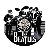 The Beatles Music Band Thema Vinyl Record Creative Wanduhr 30,5 cm schwarz round-handmade-hanging Time Armbanduhr kitchen-modern Art Home Decor Innen Design Kinder Raum Living Schlafzimmer Kinderzimmer decoration-best Geschenk für Musiker Singer Büro und Studio