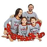 Weihnachten Familien Nachthemd,Transwen 2 STÜCKE Weihnachten Kinder Kinder Brief Drucken Top + Hosen Familie Kleidung Pyjamas Schlafanzug Kleidung (110, Grau)