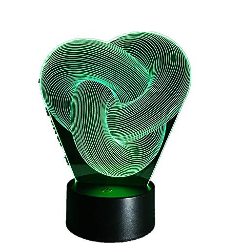 Wangzj 3d Illusion Night Light/luce decorativa mutevole/i migliori regali/Camera da letto per bambini/base abs e caricatore USB/Immagine astratt