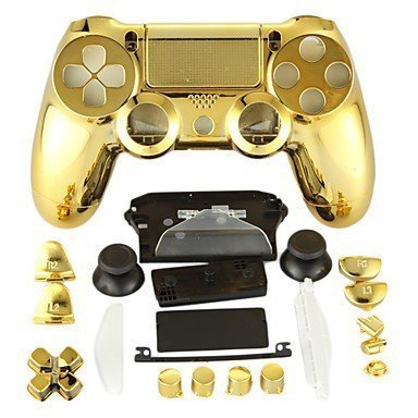 Canamite® Case Hülle Gehäuse Chrome Modding Cover Shell für PS4 Playstation 4 DualShock 4 Controller (Gold) Gold Gehäuse Cover