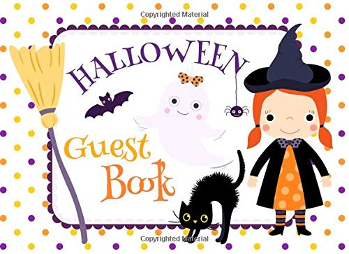 Halloween Guest Book: Cute Sign In Party Book with Place for Guest Names and Message (Cute Cat-namen Halloween)
